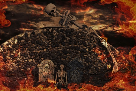 hades: skeletons and tombstones in flames