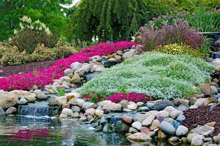 waterfalls in rock garden Stock Photo
