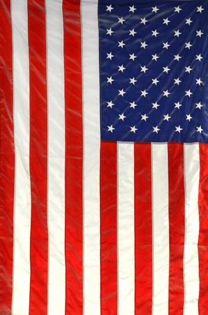 アメリカの旗を掲げ