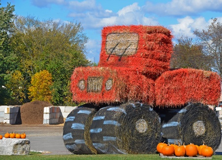 farm tractor made of hay bales