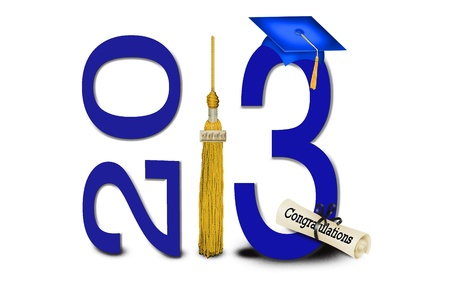 grad: blue hat and gold tassel for 2013 graduation
