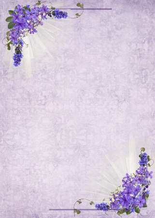 lilac corner frame on soft damask background photo