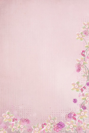 pink ribbons and flower border on pink background