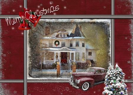 vintage huis met de auto in de kersttijd Stockfoto