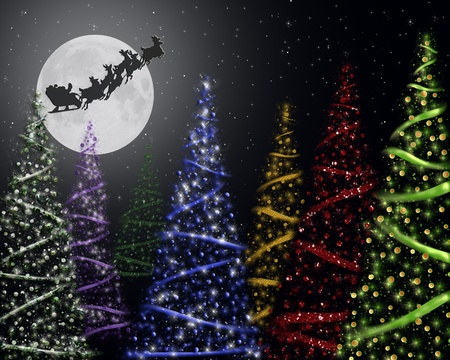 Santa silhouette on a full moon with holiday trees