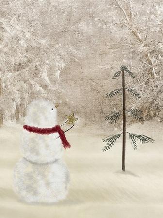 snowman with star 版權商用圖片