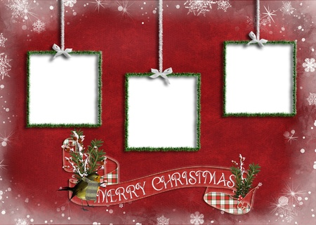 tinsel: tinsel holiday frames on red snowflake background