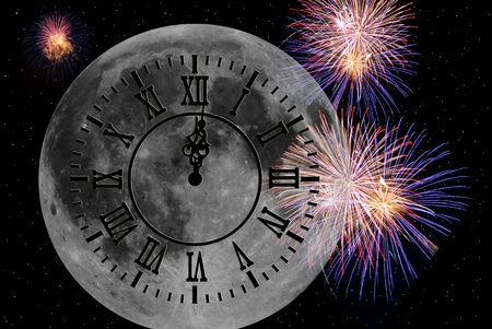 New year clock on full moon with fireworks photo