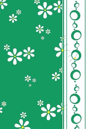 white retro daisies on emerald green background