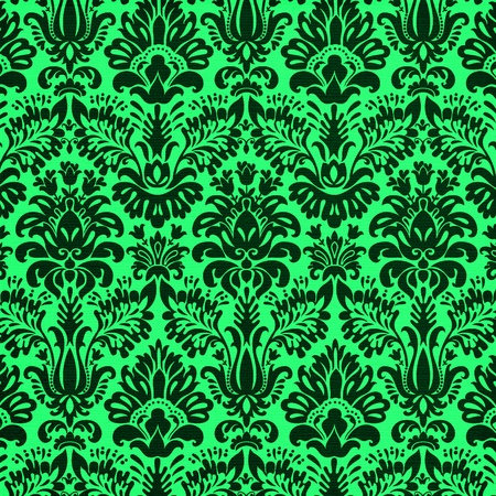 black damask on vivid green background