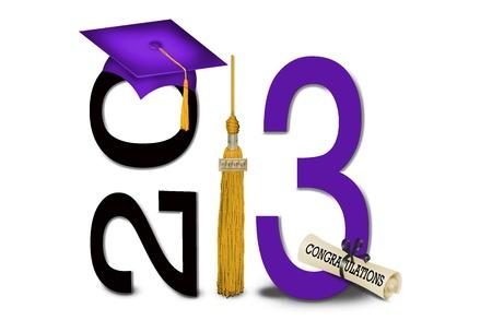gold tassel with purple graduation cap for 2013 Standard-Bild