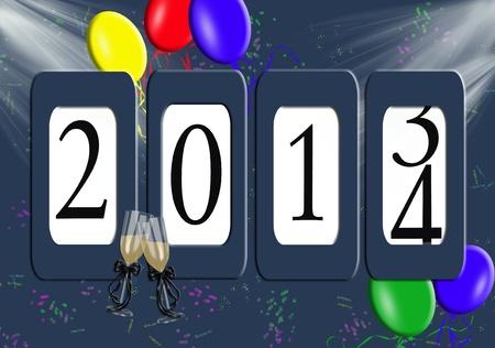 2014 nieuwe jaar kilometerteller met ballonnen Stockfoto