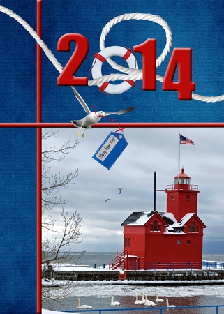 frigid: nautical 2014 new year with red lighthouse