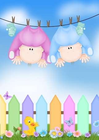 funny baby: babies hanging from a clotheline