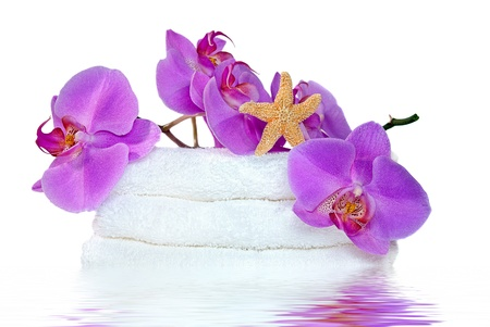 reflection mirror: orchids and starfish on white towels Stock Photo