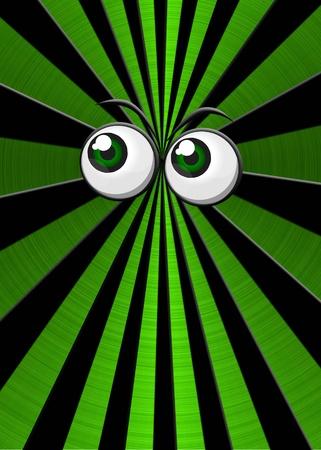 Green eyeballs on metallic star burst