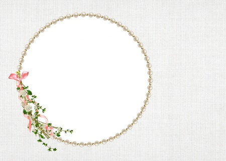 round pearl frame with floral branch Stock Photo