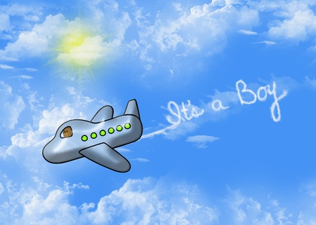 baby boy birth announcement with toy airplane