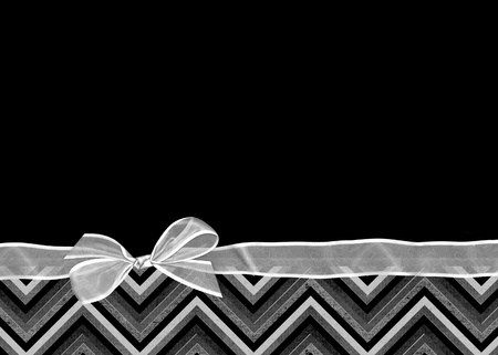 sheer white bow on chevron border photo