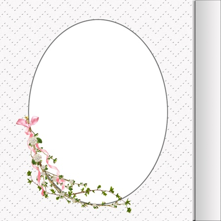 floral branch with bow on oval frame