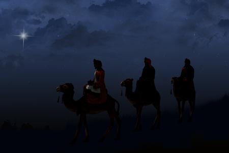 reyes magos: tres reyes magos siguiendo una estrella brillante Foto de archivo