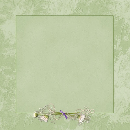 daisy bouquet with pearls on green embossed frame Stock Photo