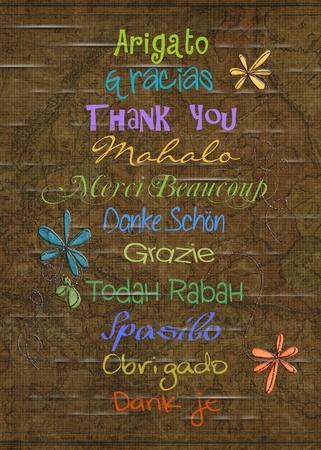 merci: merci dans diff�rentes langues Banque d'images