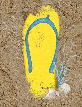 yellow flip-flop in sand with seashells