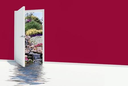 open door to waterfalls in rock garden