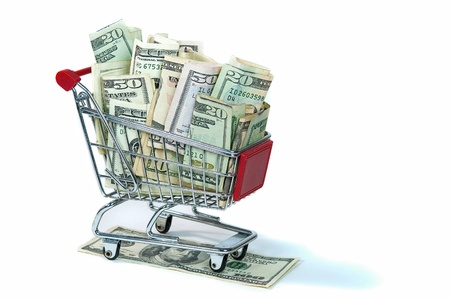 cart cash: shopping cart filled with cash