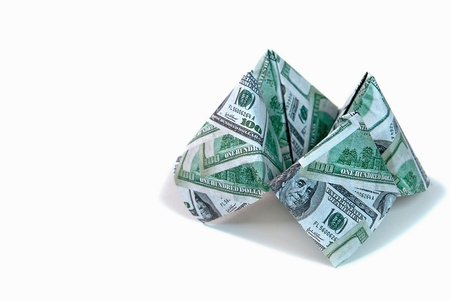 cootie catcher: cash cootie catcher isolated on white