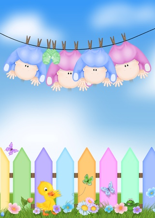 quad: quad babies hanging from clothesline Stock Photo