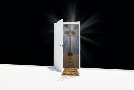 open door with religious cross photo