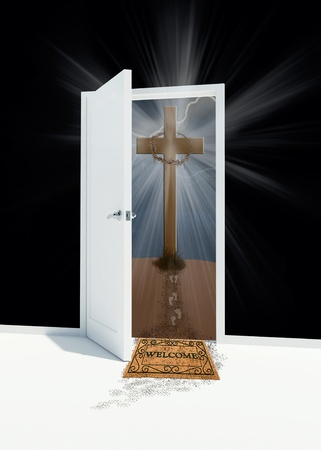 open door with Easter cross on a hill photo