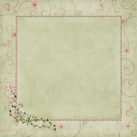 square pink pearl frame with ivy bouquet