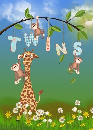 giraffe and monkeys for twin birth announcement Banco de Imagens