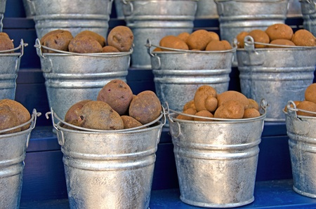potatoes in metal pails at the market photo
