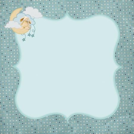 bunny sitting on a moon with stars and polka dot border