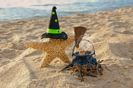 escoba: Estrellas de mar de Halloween en la playa