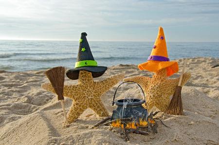 ほうきとビーチでハロウィーンのヒトデ