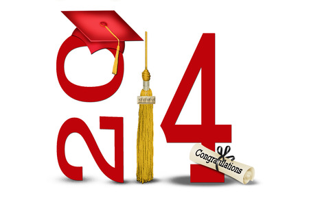 tassel: class of 2014 with gold tassel and red hat Stock Photo
