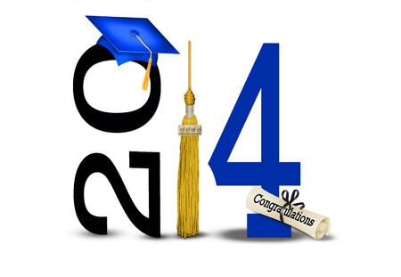 2014 年ゴールド タッセル付きブルー卒業キャップ 写真素材