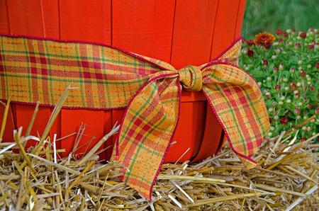 bushel: plaid autumn ribbon on orange bushel basket