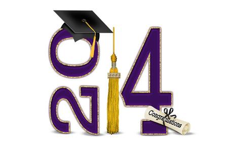 paars en goud voor 2014 afstuderen Stockfoto