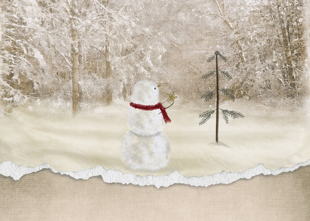 snowman with star and torn edge border photo