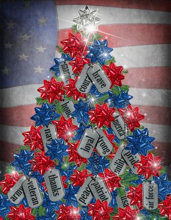 旗の背景を持つ軍事ドッグタグ クリスマス ツリー