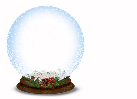 neige noel: Christmas snow globe isolé sur blanc Banque d'images