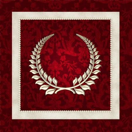 laurel symbol on red damask with pearl frame