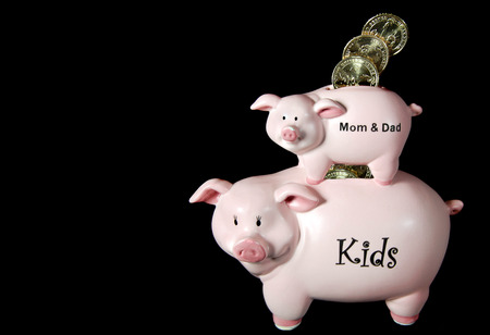 the inheritance: piggy bank with gold coins for inheritance Stock Photo
