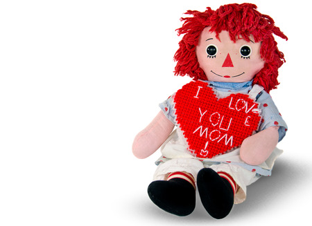 rag doll: rag doll with red heart for mom